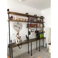 简约水管客厅置物架组合墙上美式家具复古电脑桌搁板书架