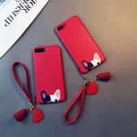 iPhone xs max手机壳卡通红色斗牛犬挂绳硅胶防摔女款创意潮