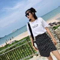 夏装女装2018新款女士上衣 韩版基础圆领百搭字母白色短袖T恤女夏 白色 均码