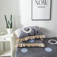 一对装】加厚夹棉枕套 枕头套拉链式枕皮花边枕套 灰色 水木年华【夹棉】 45CMX75CM