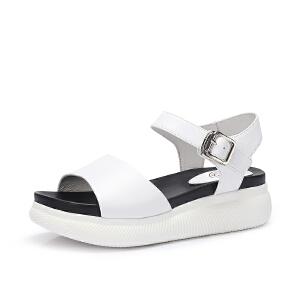骆驼女鞋 2018夏季新款 韩版舒适厚底凉鞋简约松糕鞋学生平底凉鞋