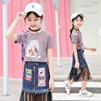 童装女童夏装时髦新款短袖裙子套装中大童韩版休闲两件套潮衣