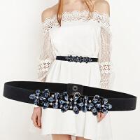 夏季松紧腰带女士宽腰带韩版水钻装饰花朵连衣裙松紧窄腰封女时尚