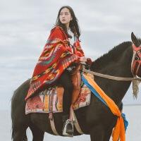 西藏青海湖旅游披肩围巾尼泊尔丽江民族风披风沙漠拍照秋冬女斗篷xx