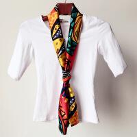 春夏秋银行职业白衬衣长条小丝巾女长款双层领巾围巾印花领结