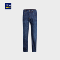 HLA/海澜之家经典五袋款牛仔裤2018秋季新品加绒保暖牛仔长裤男