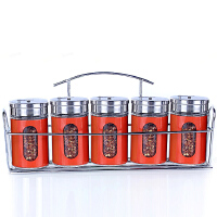 调料盒套装玻璃调味罐厨房用品调料瓶彩色调味瓶套装6件套