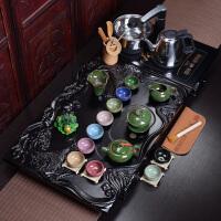 紫砂功夫茶具套装整套家用陶瓷茶杯茶具电热磁炉茶台茶道实木茶盘