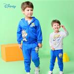 迪士尼 童装儿童套装新品春装男宝宝衣服外出运动服T恤上衣裤子三件套181T791
