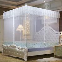 蚊帐三开门拉链公主坐床式全底1.5m蒙古包1.8m米床方顶单双人家用 白色 三开门
