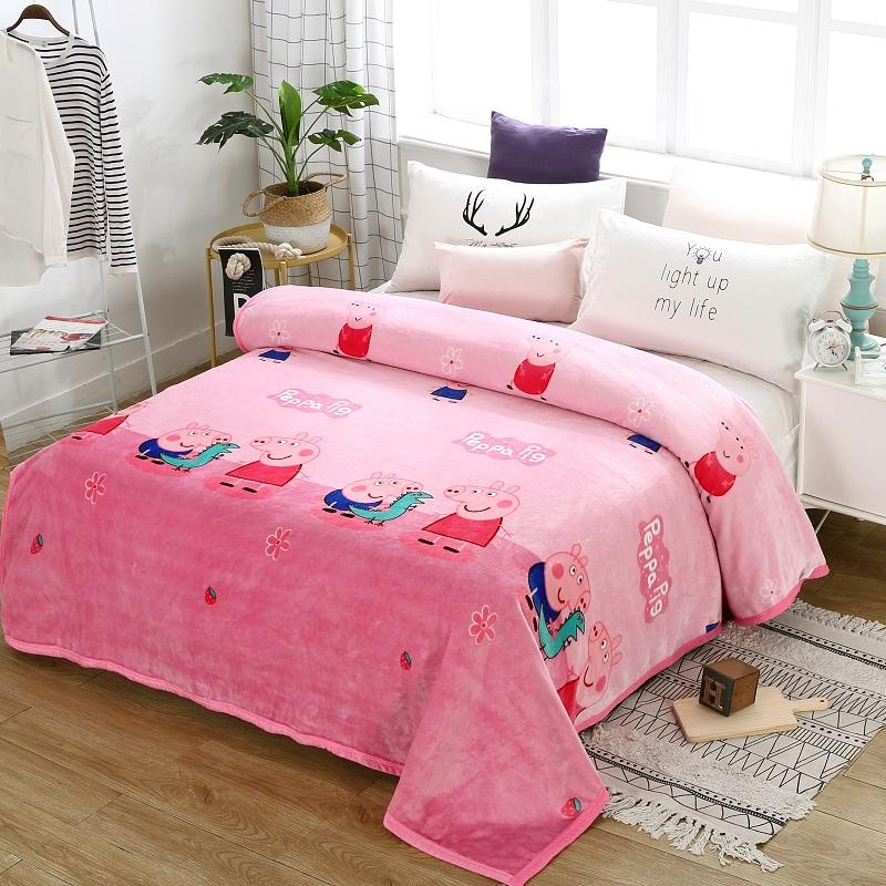 法兰绒毛毯加厚珊瑚绒毯子冬季宿舍保暖床单单双人云貂绒午休盖毯 西瓜红 恐龙佩奇