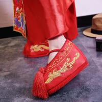 秀禾鞋婚鞋中式婚礼红色新娘鞋内增高坡跟孕妇厚底龙凤褂绣花鞋子SN8097