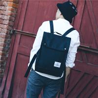 日韩版双肩包学院风女学生书包帆布校园旅行背包男电脑包5.6寸潮 黑色 ww8065