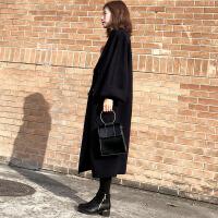 黑色大衣女中长款2018新款宽松显瘦韩版赫本复古毛外套女