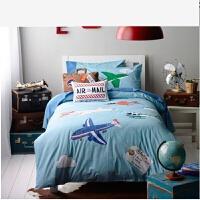 棉床品床上四件套全棉套件男款儿童被套床单三件套 环游 其它