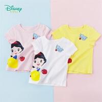 【99元3件】迪士尼Disney童装 女宝宝白雪公主印花T恤夏季新品女童纯棉短袖透气