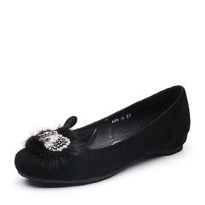 Teenmix/天美意2018春专柜同款羊绒皮/貂毛皮浅口女单鞋6UK16AQ8