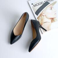 舒适软皮鞋细跟中跟单鞋工装鞋女黑色正装高跟鞋 黑色8厘米 哑光.职业鞋。