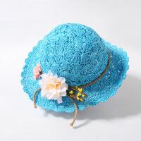 儿童编帽潮夏季女童沙滩帽大帽沿遮阳帽甜美淑女花朵渔夫帽