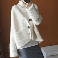 新年优惠【NEW】秋冬新款V领羊绒开衫女短款毛衣宽松加厚纯色针织衫