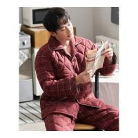 冬季情侣睡衣三层加厚夹棉男女士加棉红色喜庆保暖家居服套装