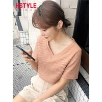 韩都衣舍2019夏装新款韩版女装上衣打底V领纯色短袖T恤JZ11209瑭
