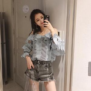谜秀衬衫女长袖2018夏装新款韩范chic吊带条纹上衣港风心机衬衣潮