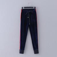 G602 国内品牌单 春季新款侧边条纹松紧腰修身小脚长裤女式休闲裤