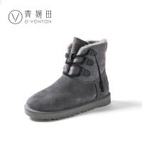 青婉田2017新款冬季羊皮毛一体雪地靴女中筒百塔加绒加厚保暖棉鞋