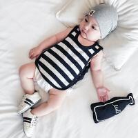 婴儿衣服夏装新生儿纯棉百搭无袖背心T恤男女宝宝休闲上衣汗衫薄