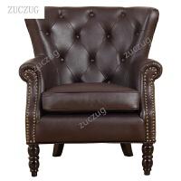 zuczugZUCZUG美式单人沙发椅子简易北欧小户型客厅布艺田园单个休闲小沙发真皮 单人