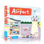 英文原版绘本 Busy系列 Busy Airport 繁忙的机场 纸板机关操作书 幼儿英语启蒙学习进口儿童纸板书儿童玩