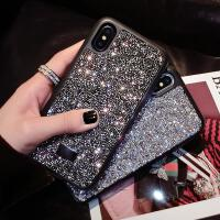 新款苹果X奢华水钻XSMAX施华洛世奇手机壳iPhone8plus/7p网红女款 iPhoneX/XS 水钻银黑色