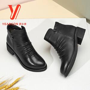 意尔康 女鞋2017冬季新款真皮短靴女圆头短绒短筒靴侧拉链粗跟