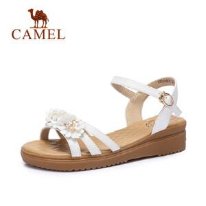 骆驼女鞋 2018夏季新款甜美坡跟凉鞋 简约舒适中跟鞋韩版学生凉鞋