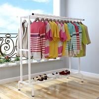 室内凉衣架立式双杆式晒衣架折叠欧式简易阳台晾衣杆折叠式晾衣架 白色 长150cm宽50高145
