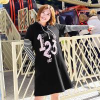 MsShe大码冬装纯棉加厚磨毛假两件连衣裙M1740491