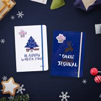 晨光文具冰雪节硬壳精装本便携本学生成人用笔记本圣诞季记事本