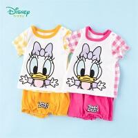 迪士尼Disney童装 女童套装纯棉透气短袖简约休闲短裤2件套夏季新品迪斯尼宝宝衣服