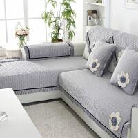 法兰绒四季通用木头沙发坐垫皮毛绒沙发垫带靠背冬季布艺