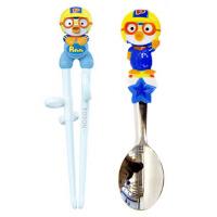 啵乐乐儿童塑料学习筷子加卡通蓝企鹅单件勺