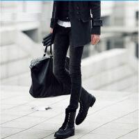秋冬黑色牛仔裤加绒加厚韩版潮流修身小脚裤弹力紧身铅笔裤子