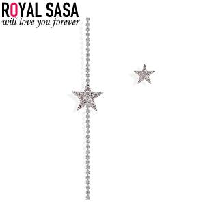 皇家莎莎耳钉女气质韩国简约个性学生饰品星星不对称耳环925银针