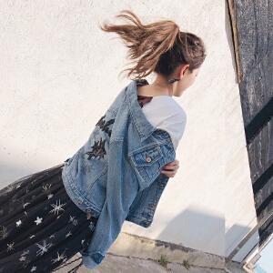 谜秀牛仔外套女春装2018新款韩版修身显瘦钉珠短款外套上衣女装潮