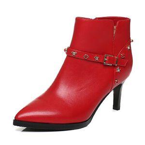 Tata/他她2017冬牛皮铆钉皮带扣尖头及踝靴细高跟女皮靴FF248DD7