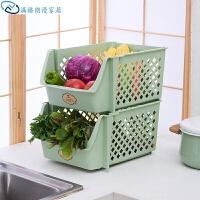 加厚大厨房可叠加收纳架储物篮塑料置物架整理架水果蔬菜收纳筐 单个