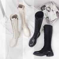 欧美时尚绑带厚底平底鞋中跟高筒靴马丁长靴骑士机车米白色女靴子SN7094 黑色 单里