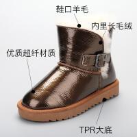 女童雪地靴冬季防水加厚2018冬季新款韩版短靴时尚百搭一脚蹬棉靴
