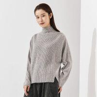 【1件5折价:369.5】CHIN祺2020早春新款羊毛衫女半高领套头宽松纯色毛衣打底羊绒衫