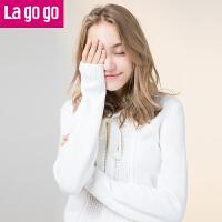【6.29日限时秒杀价59】Lagogo2017冬季新款时尚蝴蝶结宽松套头针织衫学院风女式短款毛衣